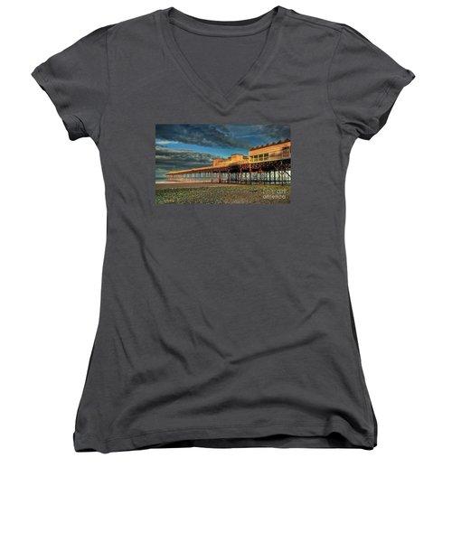 Women's V-Neck T-Shirt (Junior Cut) featuring the photograph Victoria Pier 1899 by Adrian Evans