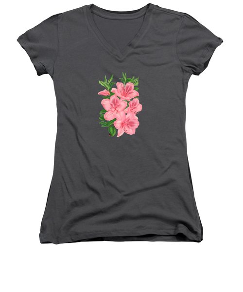 Victorian Pink Flowers On Navy Women's V-Neck T-Shirt