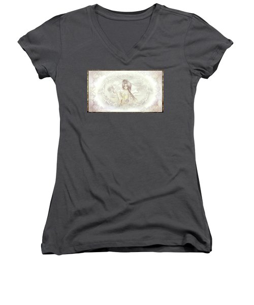 Women's V-Neck T-Shirt featuring the mixed media Victorian Princess Altiana by Shawn Dall