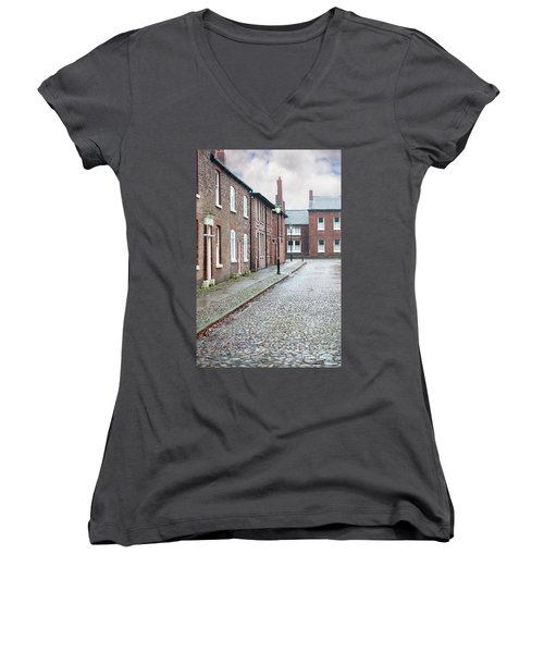 Victorian Terraced Street Of Working Class Red Brick Houses Women's V-Neck T-Shirt (Junior Cut) by Lee Avison