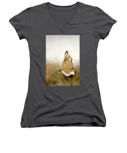 Victorian Woman Running On The Misty Moors Women's V-Neck T-Shirt