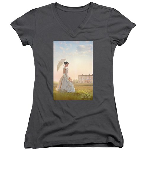 Victorian Woman With Parasol And Fan Women's V-Neck T-Shirt (Junior Cut) by Lee Avison