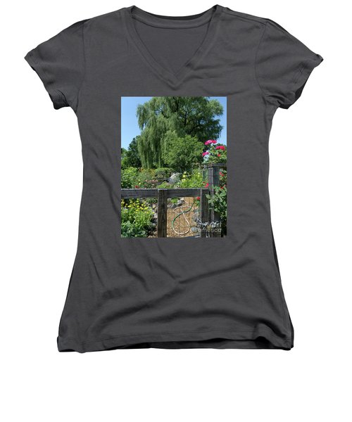 Victory Garden Lot And Willow Tree, Boston, Massachusetts  -30958 Women's V-Neck