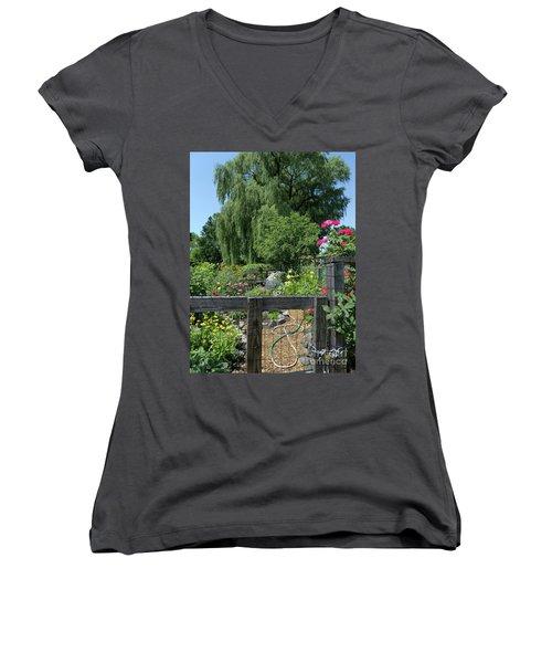 Victory Garden Lot And Willow Tree, Boston, Massachusetts  -30958 Women's V-Neck