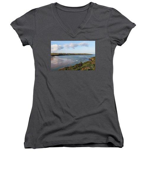 Women's V-Neck T-Shirt (Junior Cut) featuring the photograph View Across The Gannel Estuary by Nicholas Burningham