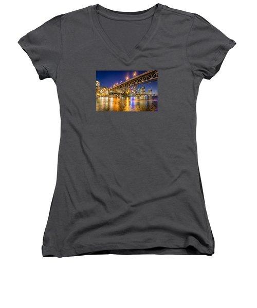View At Granville Bridge Women's V-Neck T-Shirt (Junior Cut) by Sabine Edrissi