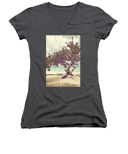 View At The Ocean With Boats In The Water Women's V-Neck (Athletic Fit)