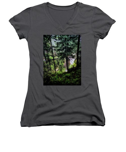 Women's V-Neck T-Shirt (Junior Cut) featuring the photograph View Downhill by Joseph Hollingsworth