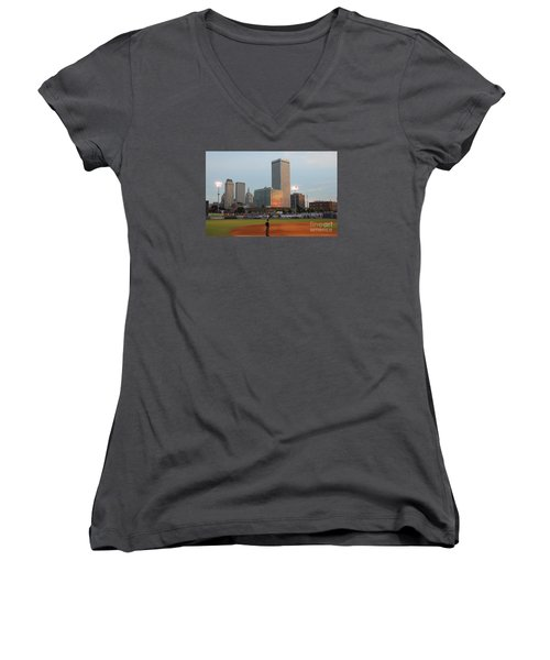 View From 3rd Base 2 Women's V-Neck (Athletic Fit)