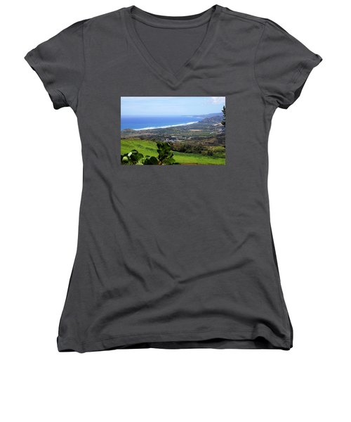 Women's V-Neck T-Shirt (Junior Cut) featuring the photograph View From Cherry Hill, Barbados by Kurt Van Wagner