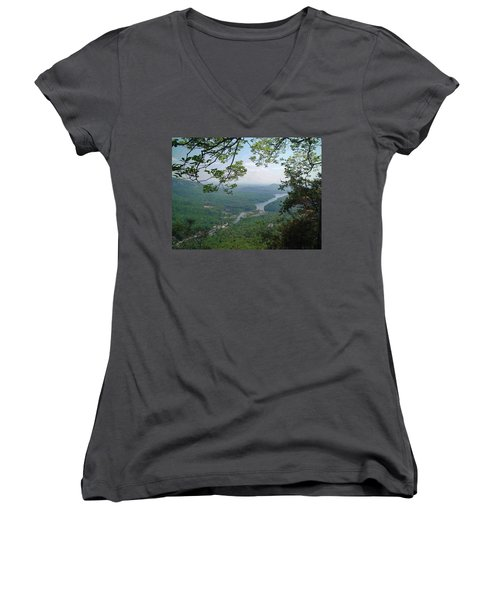 View From Chimney Rock, North Carolina Women's V-Neck (Athletic Fit)
