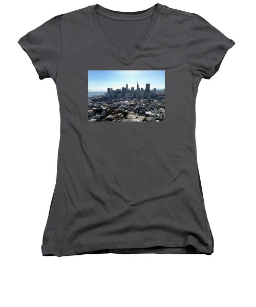 Women's V-Neck T-Shirt (Junior Cut) featuring the photograph View From Coit Tower by Steven Spak