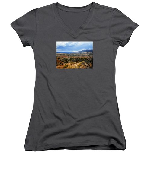 Women's V-Neck T-Shirt (Junior Cut) featuring the photograph View From Ghost Ranch, Nm by Kurt Van Wagner