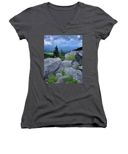 View From Grandfather Mtn Nc Women's V-Neck T-Shirt (Junior Cut) by Steve Hurt