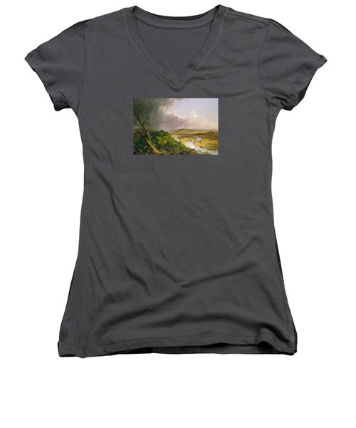 Women's V-Neck T-Shirt (Junior Cut) featuring the painting View From Mount Holyoke Northampton Massachusetts After A Thunderstorm. The Oxbow by Thomas Cole