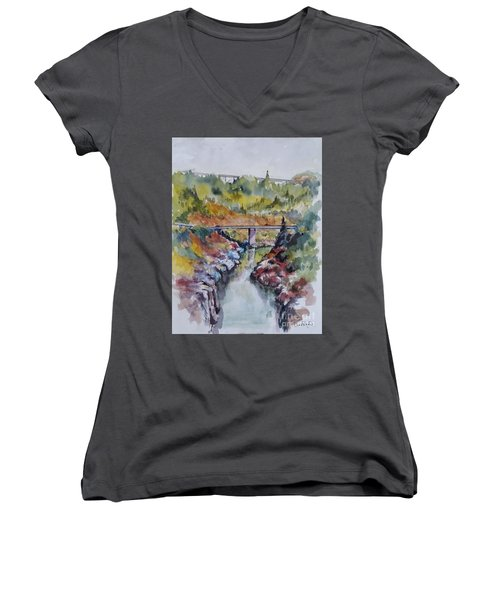View From No Hands Bridge Women's V-Neck T-Shirt (Junior Cut) by William Reed