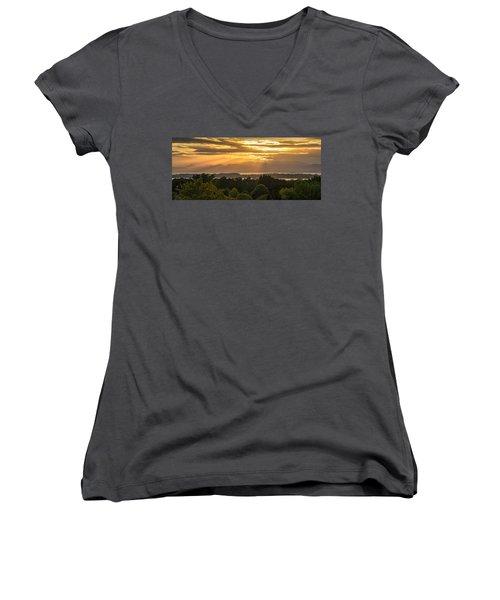 View From Overlook Park Women's V-Neck T-Shirt (Junior Cut) by Craig Szymanski