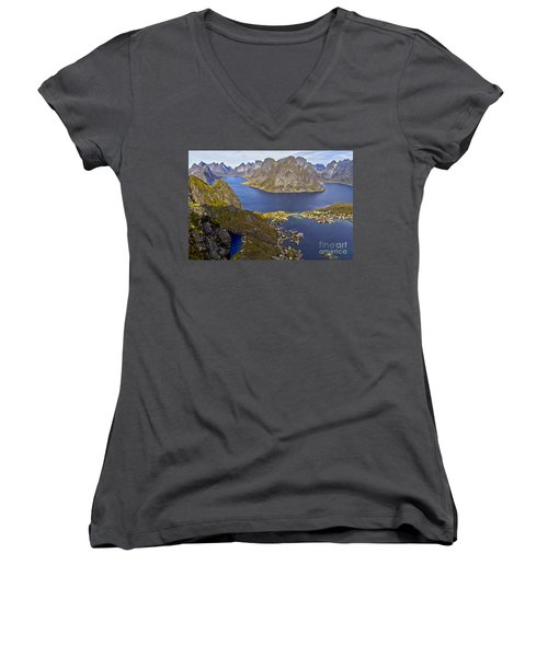 Women's V-Neck featuring the photograph View From Reinebringen by Heiko Koehrer-Wagner