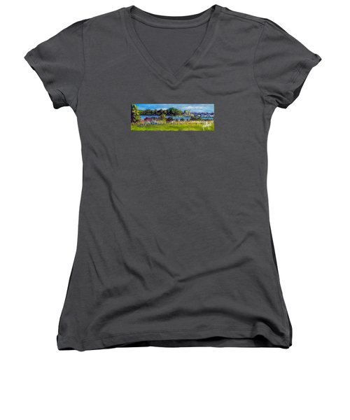 Women's V-Neck T-Shirt (Junior Cut) featuring the painting View From Sturgeon City Park by Jim Phillips