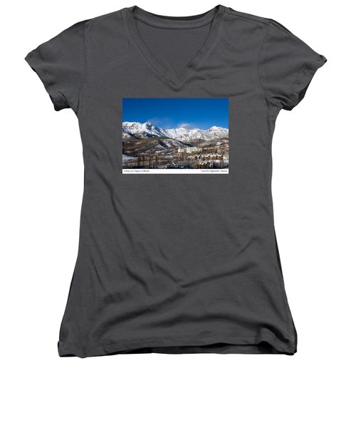 View From The Mountain Above Telluride Women's V-Neck T-Shirt (Junior Cut) by Carol M Highsmith