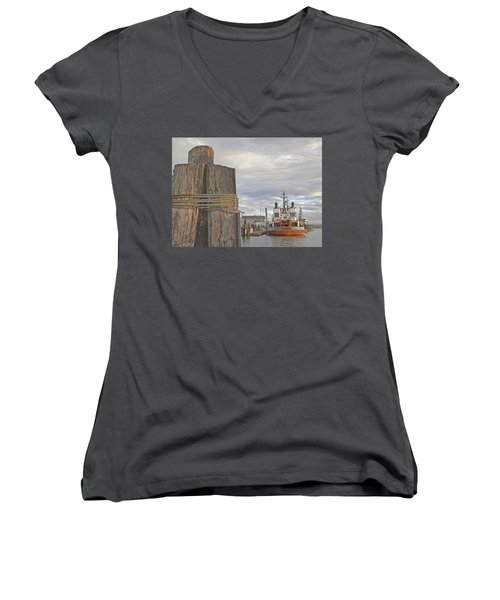 View From The Pilings Women's V-Neck T-Shirt