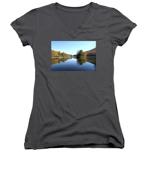 View Of Abbott Lake With Trees On Island, In Autumn Women's V-Neck