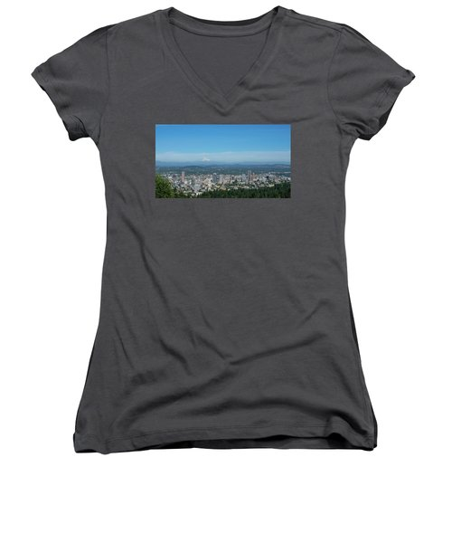 View Of Downtown Portland Oregon From Pittock Mansion Women's V-Neck