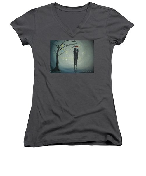 View Of The City Women's V-Neck T-Shirt (Junior Cut) by Raymond Doward
