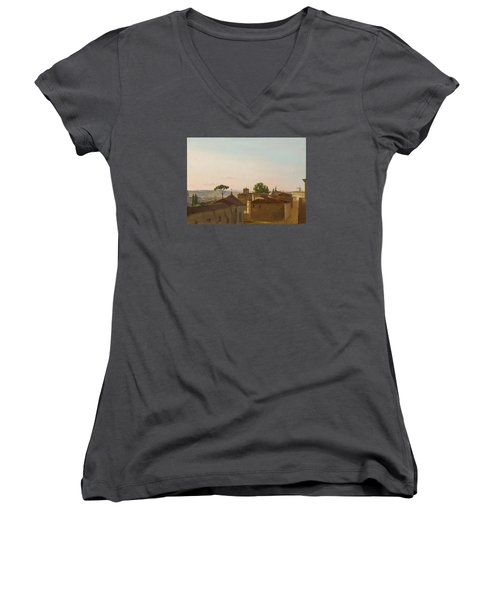 Women's V-Neck T-Shirt (Junior Cut) featuring the painting View On The Quirinal Hill. Rome by Simon Denis
