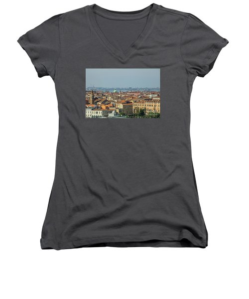 View On Venice Women's V-Neck T-Shirt (Junior Cut) by Patricia Hofmeester