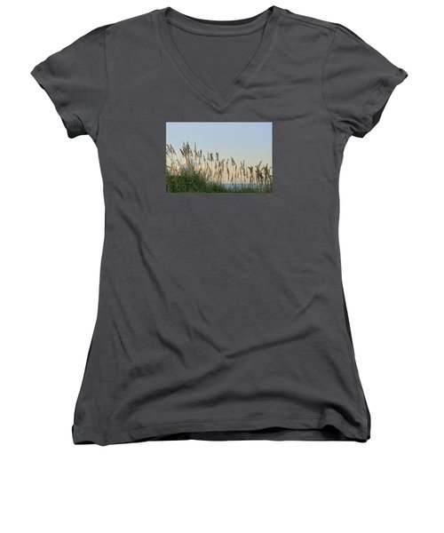 Women's V-Neck T-Shirt (Junior Cut) featuring the photograph View Through The Sea Oats by Bradford Martin