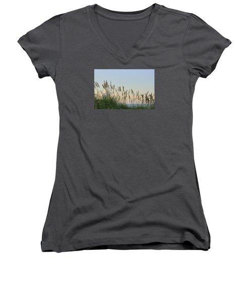 View Through The Sea Oats Women's V-Neck T-Shirt (Junior Cut) by Bradford Martin