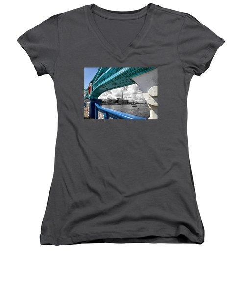 View Through Tower Bridge Women's V-Neck T-Shirt (Junior Cut) by Shirley Mitchell