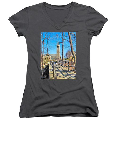 View To Mcgraw Tower Women's V-Neck T-Shirt
