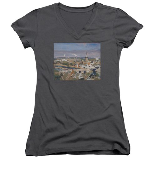 View To The East Bank Of Maastricht Women's V-Neck T-Shirt (Junior Cut) by Nop Briex