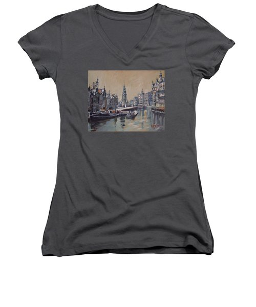 View To The Mint Tower Amsterdam Women's V-Neck T-Shirt (Junior Cut) by Nop Briex