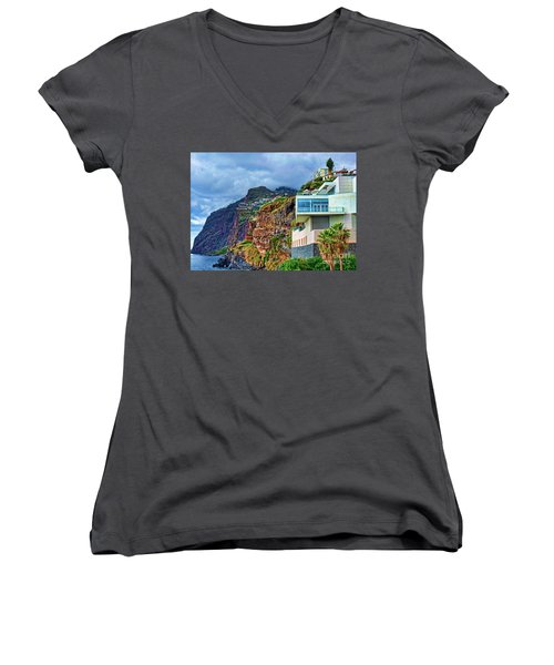 Viewpoint Over Camara De Lobos Madeira Portugal Women's V-Neck