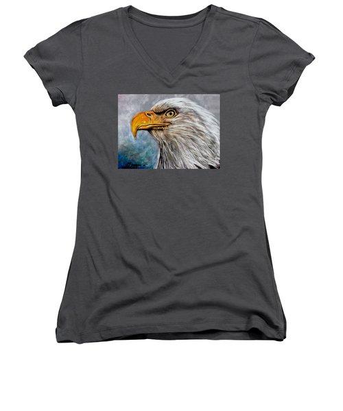 Vigilant Eagle Women's V-Neck T-Shirt