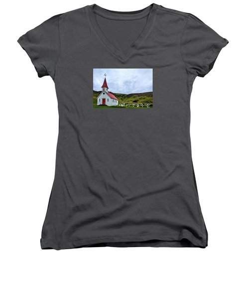 Vik Church And Cemetery - Iceland Women's V-Neck