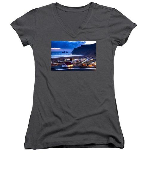 Vik Iceland Women's V-Neck T-Shirt (Junior Cut) by Mariusz Czajkowski