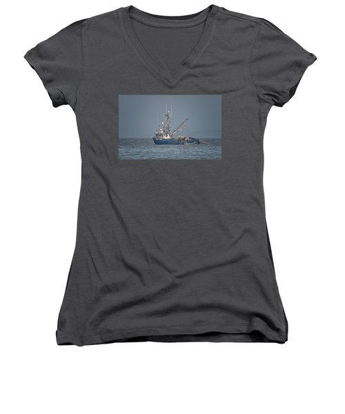 Women's V-Neck T-Shirt (Junior Cut) featuring the photograph Viking Fisher 4 by Randy Hall
