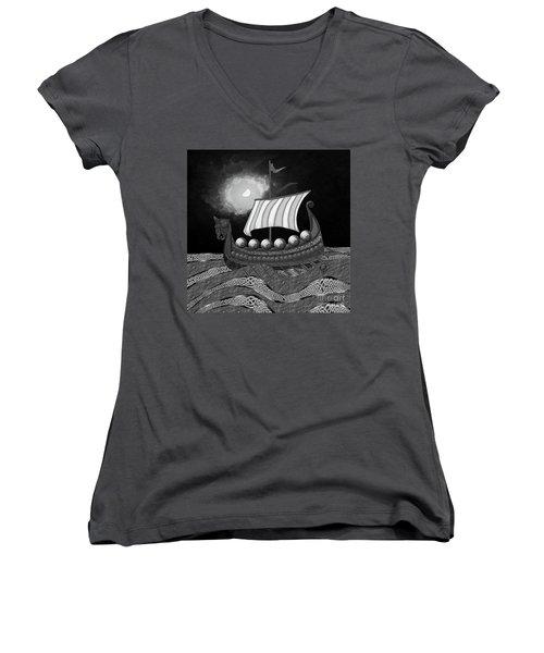 Women's V-Neck T-Shirt featuring the digital art Viking Ship_bw by Megan Dirsa-DuBois