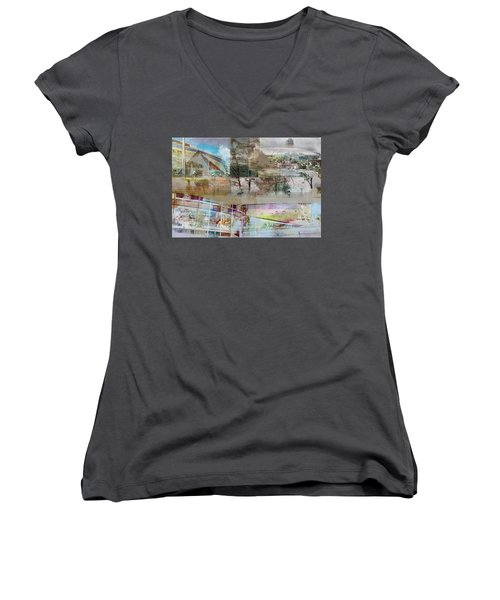Vikings Stadium Collage 2 Women's V-Neck T-Shirt (Junior Cut) by Susan Stone