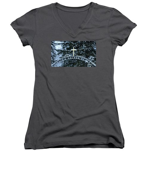 Villa Sacred Heart Winter Retreat Golden Cross Women's V-Neck T-Shirt (Junior Cut) by John Stephens