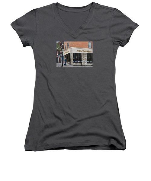 Villa Wellington In Verdun Women's V-Neck T-Shirt (Junior Cut) by Reb Frost