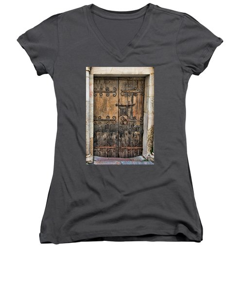 Village Chateau French Old Ancient Door Color  Women's V-Neck
