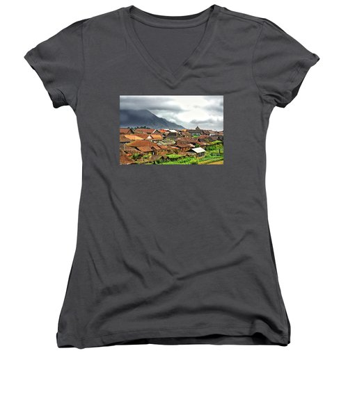Women's V-Neck T-Shirt (Junior Cut) featuring the photograph Village View by Charuhas Images