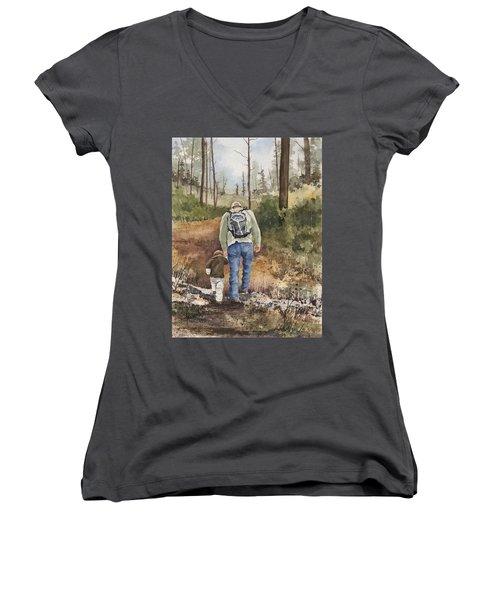 Vince And Sam Women's V-Neck T-Shirt (Junior Cut) by Sam Sidders