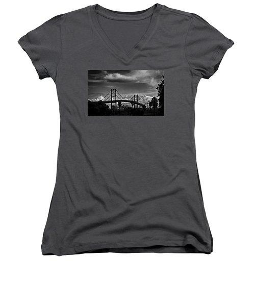 Women's V-Neck T-Shirt (Junior Cut) featuring the photograph Vincent Thomas Bridge by Joseph Hollingsworth
