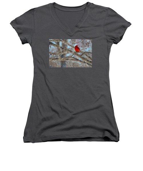 Women's V-Neck T-Shirt (Junior Cut) featuring the mixed media Vincent by Trish Tritz